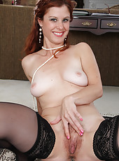 Tight 39 year old Jessica Adams slips out of her slinky lingerie