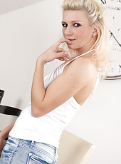 35 year old MILF Selina from All Over 30 strips off her denim jeans