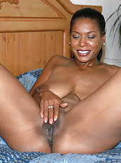 Hot ebony babe with these super sexy huge titties gets them creamed on