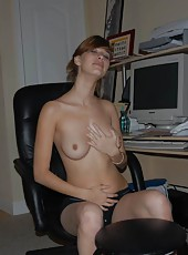 My sexy wife is caught on amateur cam rubbing her hot body