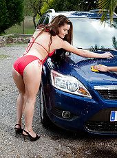 A couple of hot MILF taking a break from washing the car