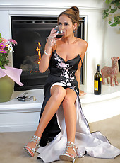 Hot 30 year old Elexis from AllOver30 enjoying a bottle of wine