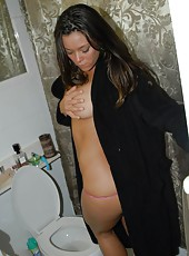I caught my horny brunette wife in the bath materbating in these hot wet pics