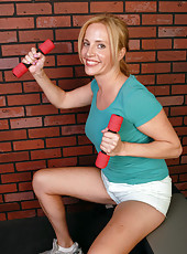 39 year old blonde MILF Katrina gets playful after her workout