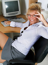 Office MILF Cricket from AllOver30 reveals hot tan lines and pussy