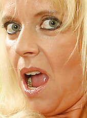 Horny blonde MILD Merilyn straddles a huge blue vibrator in here