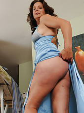 Sexy 43 year old brunette chane takes a break from her housework