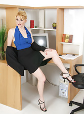 40 year old Ashley from AllOver30 strips off her business skirt for you