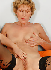 Two honry MILF examine each other mature pussies in this one