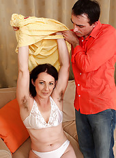 50 year old Anna B gets spunked on her hairy pits after a good fucking