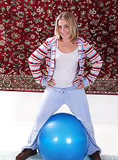 32 year old blonde MILF Chance gets down and dirty with a pilates ball