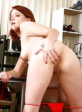 Lilla Katt from AllOver30 feels and looks better naked behind her desk