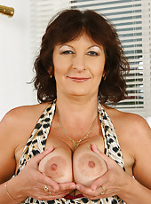 Furry pussied Alma showing off her all natural 49 year old body