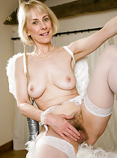 Blonde Hazel struts her 52 year old stuff in these angel pictures