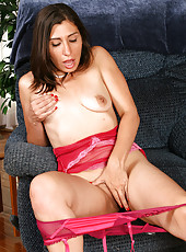 Valya from AllOver30 forces her plastic friend into her mature pussy