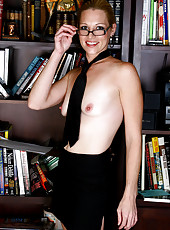 30 year old Kyra strips and spreads at the back of the public library