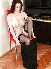 Elegant and pale housewife Carol from AllOver30 spreads her long legs