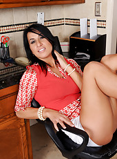 30 year old Sophia Bella spreading her tight ass during the office break
