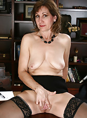 51 year old Lynn had enough of her books and decides to strip here