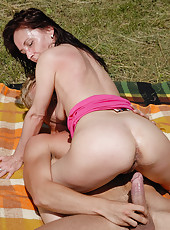 Jenny H from AllOver30 gets a hard cock planted deep into her hol