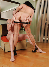 Brunette MILF Claudine enjoying a mouthful and pussy full of cock