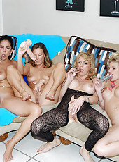 Hot milf babe gets nasty with her friends in her sexy mesh body suit