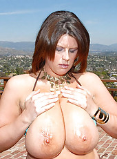 This hotties extremely large titties are all over the screen