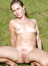 34 year old Stella from AllOver30 spreading her mature pussy wide