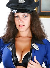 Brunette MILF in a police uniform spreads her long mature legs