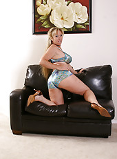37 year old busty blonde Anita plays with shaved pussy and tits