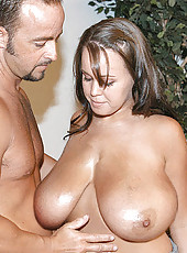 Brandys enourmous natural titties are getting creamed all over the place