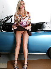 Blonde Layla sparks up a smoke and spreads her legs on her car