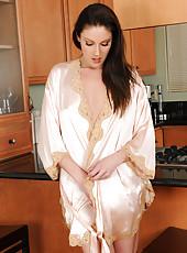 Sexy mature brunette Samantha Ryan looking fantastic in� silk