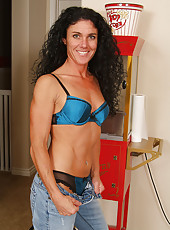 Petite and mature Nia looks hot in her blue bra and thong