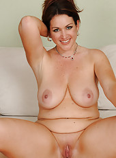 Elegant and beautiful Ryan shows off her cleany shaven pussy in here