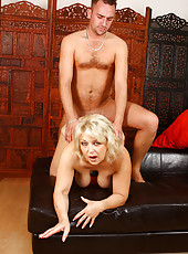 50 year old Elza sucks and fucks hard dick and loves every inch