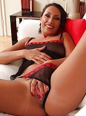 Sandy K strutting her amazing 36 year old stuff in hot black lingerie