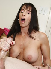 Bibette Blanche Helps Jimmy Nut by giving him an over 40 handjob