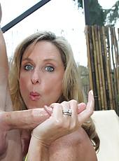 Jodi West gives handjob with sunscreen