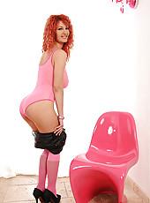 Polish redhead displays her tits