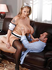 Big tittie maid rides the pony!