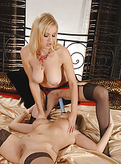 Busty blond lesbian babes have sex