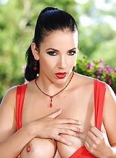 Jelena Jensen posing tits outdoors
