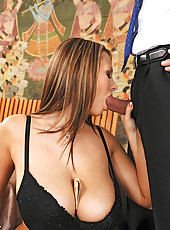 Busty babe Domino gets titty fucked