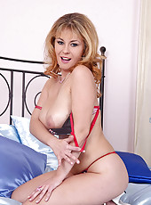 Hot Constance Devil dildoing on bed