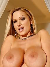 Blonde Sharon Pink shows her boobs
