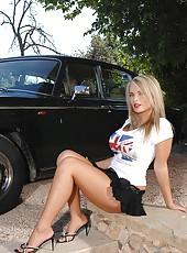 Hot blonde revealing her huge boobs