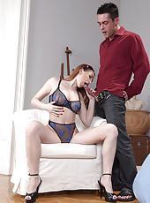 Busty Veronica Sinclair sucks cock
