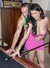 Hot bigtit brunet latina sucks cock and rides till cum