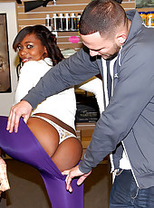 Hot ass black babe gets her mega natural tittys creamed after bending over and getting fucked inside a pawn shop